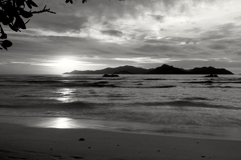 Sunset at Anse Sèvere Beach on La Digue (in black/white)