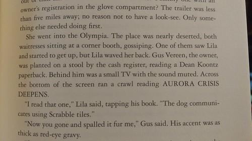 Dean Koontz mention in Sleeping Beauties by Stephen & Owen King, p135