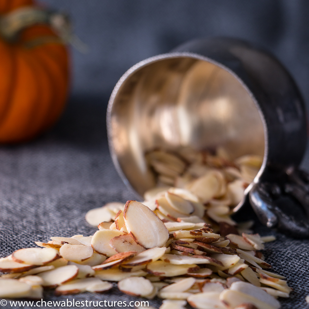 Delicious shaved California almonds, haunted house, halloween treats.