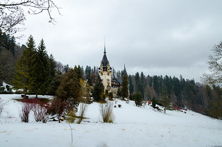 Peles Castle during the winter season