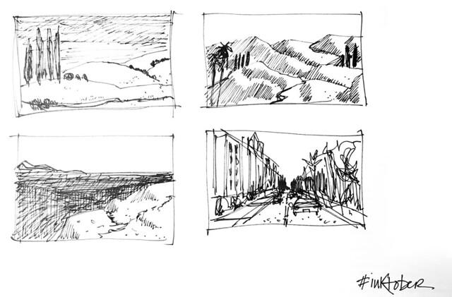quick landscape thumbnails inktober