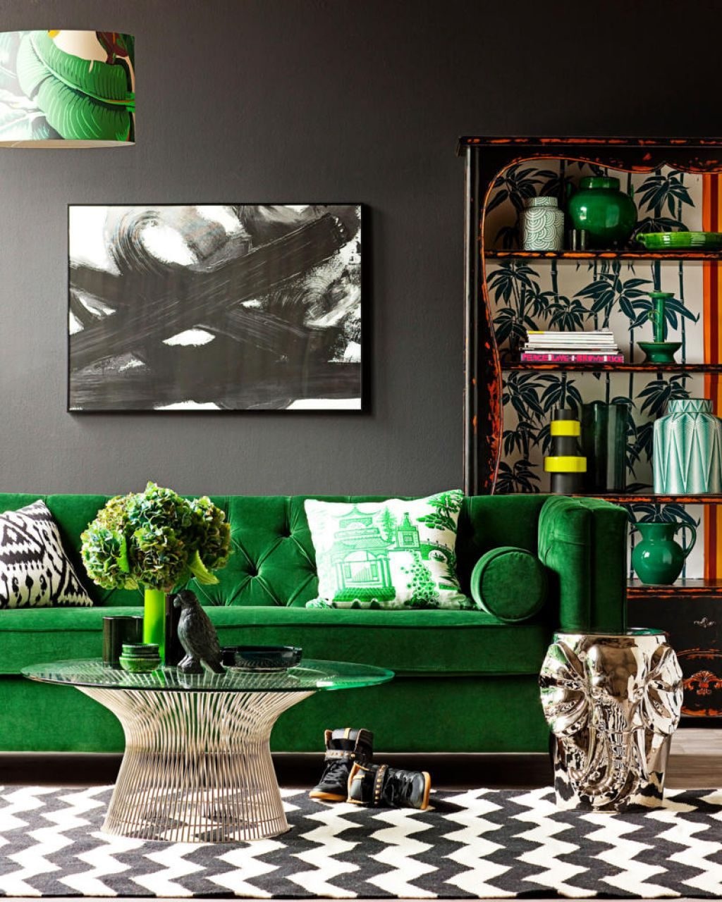 Pantone Color Greenery Black Wall Living Room Black White Chevron Rug Inspiration