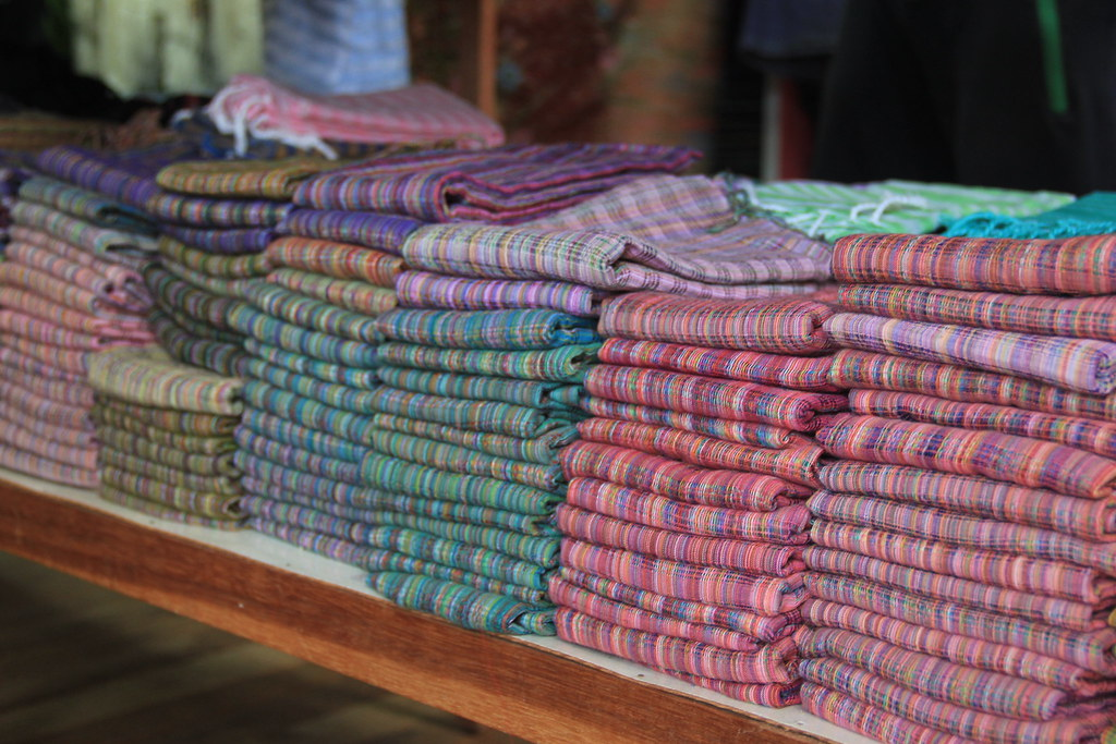 Scarves made out of the fibres from the stems of the lotus flower, Inle Lake