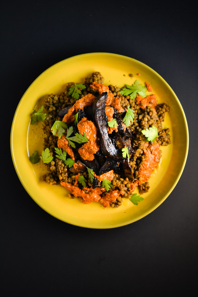 Portabella Mushrooms and Lentils with Roasted Red Pepper Sauce | Things I Made Today