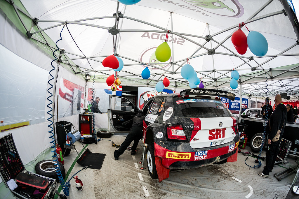 05 Gryazin Nikolay and Fedorov Yaroslav, Sports Racing Technologies, Skoda Fabia R5 ERC Junior U28 service parc ambiance during the 2017 European Rally Championship ERC Liepaja rally,  from october 6 to 8, at Liepaja, Lettonie - Photo Thomas Fenetre / DPPI