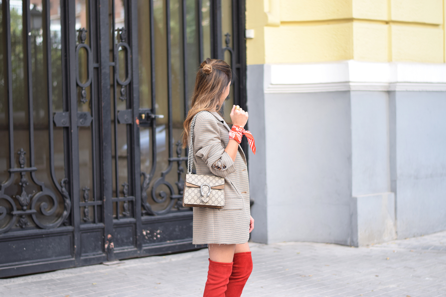 Houndstooth blazer denim skirt gucci bag red over the knee boots autumn outfit style fashion17