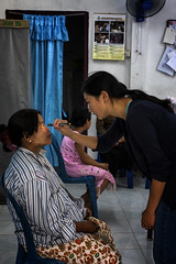 A Burmese Lady Has Her Eyes Checked At Mae Tao Clinic, Thailand