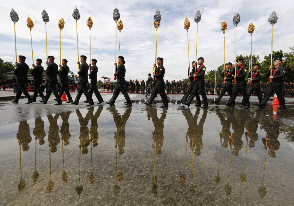 Royal Thai Army soldiers rehearse for the 5-day funeral of King Bhumibol Adulyadej