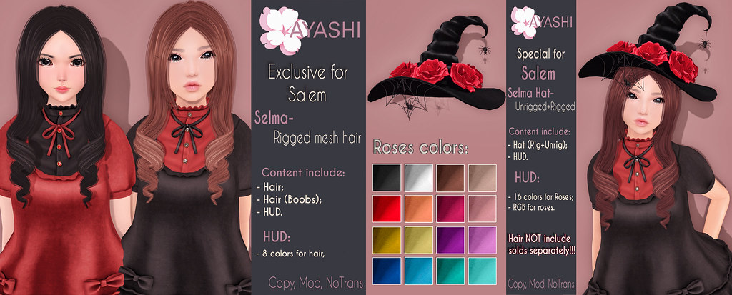 [^.^Ayashi^.^] Selma hair&Hat special for Salem's Macabre Market