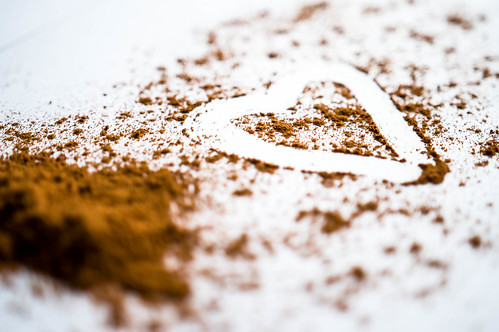 Heart traced over cinnamon powder