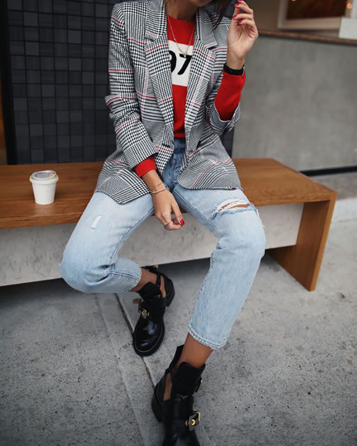 plaid blazer street style trend style outfit 2017 accessories denim4