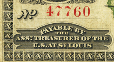 1861 St. Louis Demand Note face closeup