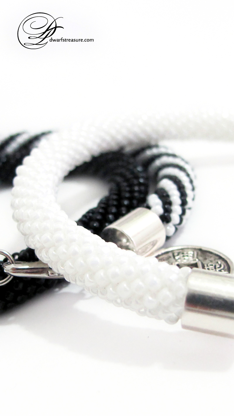 Pretty white and black seed bead crochet rope bangles