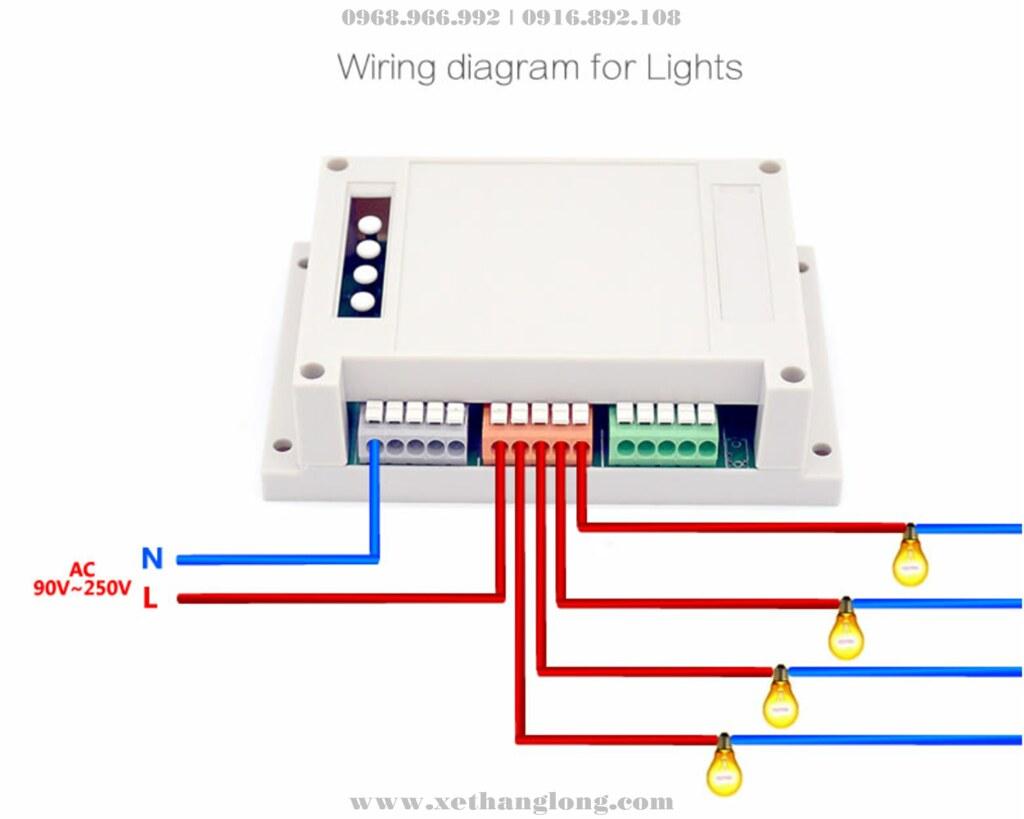 Sơ đồ nối dây bộ điều khiển 4 kênh với các thiết bị điện bên ngoài