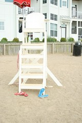 lifeguard chair and shoes