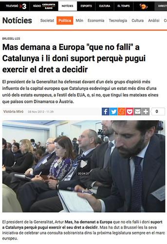 """17j23 del 8 noviembre 2012 Mas demana a Europa """"que no falli"""" a Catalunya i li doni suport perquè pugui exercir el dret a decidir Uti 465"""