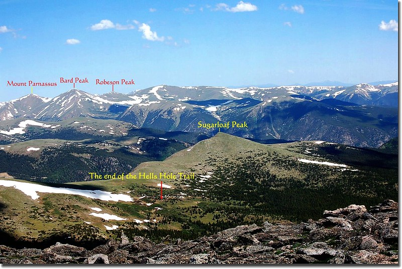 Looking Northwest down to Hells Hole from the summit of Gray Wolf Mountain 1-1