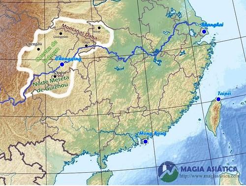 Region Sichuan Chongqing mapa físico