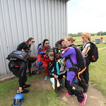 Ladies practicing for their skydiving state record attempt in honor of the YWCA of Greater Flint