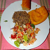 #3436 dinner: cornbread, tortilla salad, beef and brown rice by Nemo's great uncle