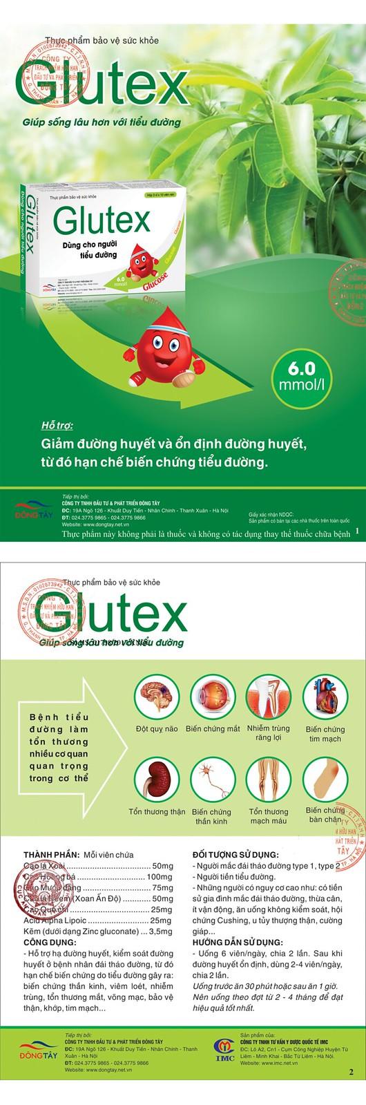 Glutex giúp sống lâu với bệnh tiểu đường