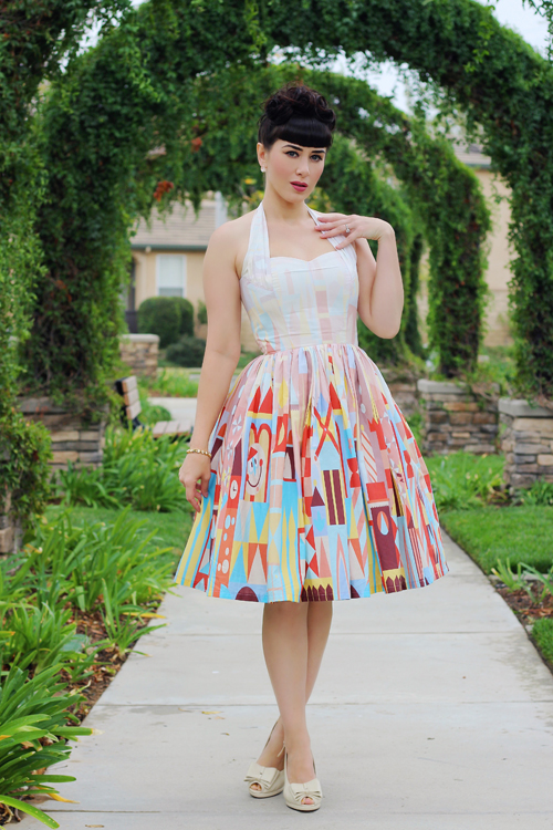 Vintage Inspired by Jackie Atomic Jax Clock Face Halter Dress