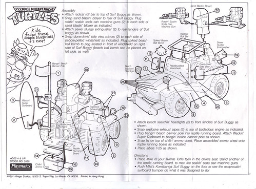 TEENAGE MUTANT NINJA TURTLES :: MIKE'S KOWABUNGA SURF BUGGY ..instructions (( 1991 ))