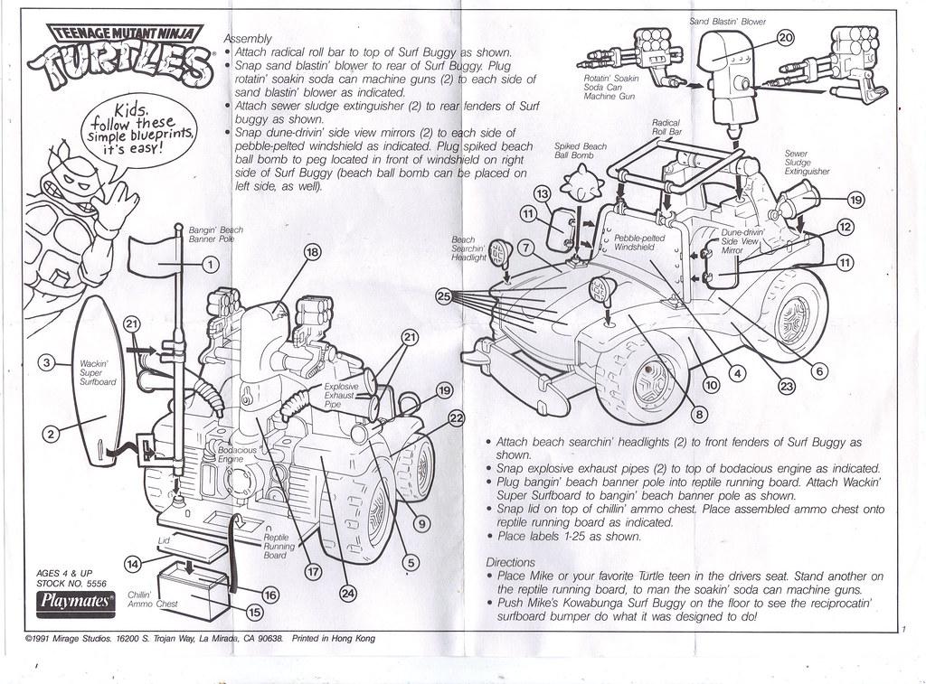 TEENAGE MUTANT NINJA TURTLES :: MIKE'S KOWABUNGA SURF BUGGY ..instructions (( 1991 )) by tOkKa