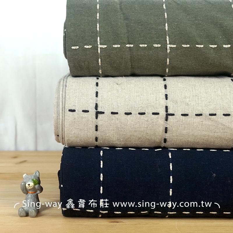 虛線 棉繡線方格 亞麻 簡約無印 文青 手工藝DIy拼布布料 FB1290003