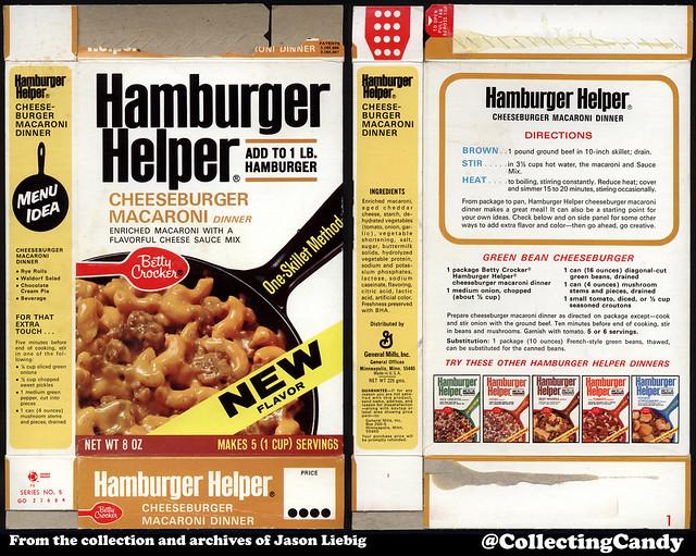 General Mills - Betty Crocker - Hamburger Helper Cheeseburger Macaroni - NEW - 8oz product package box - 1972