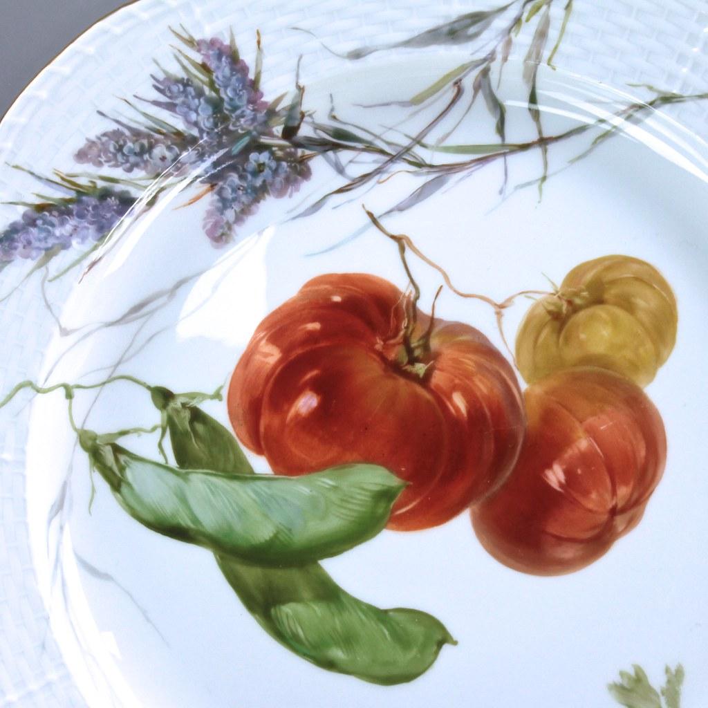 KPM Berlin: Teller mit Gemüse Malerei Tomaten Bohnen, Speiseteller ...