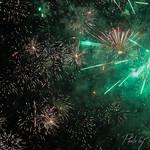 Green fireworks.