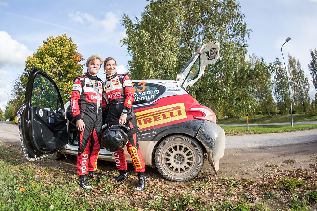 Solberg Oliver and Engan Veronica, Sports Racing Technologies, 208 R2 ambiance portrait  during the 2017 European Rally Championship ERC Liepaja rally,  from october 6 to 8, at Liepaja, Lettonie - Photo Thomas Fenetre / DPPI
