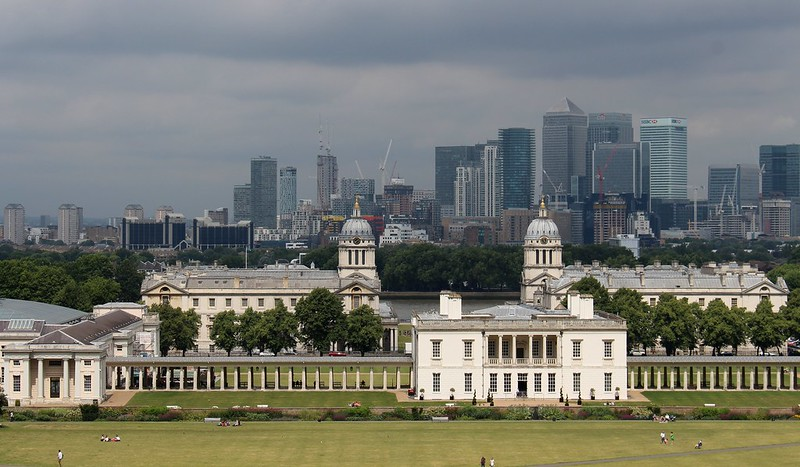 View from Greenwich over London Docklands