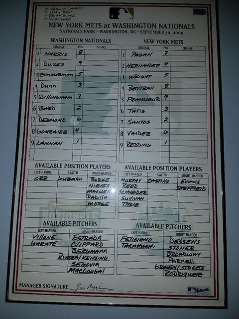 MLB dugout lineup card framed