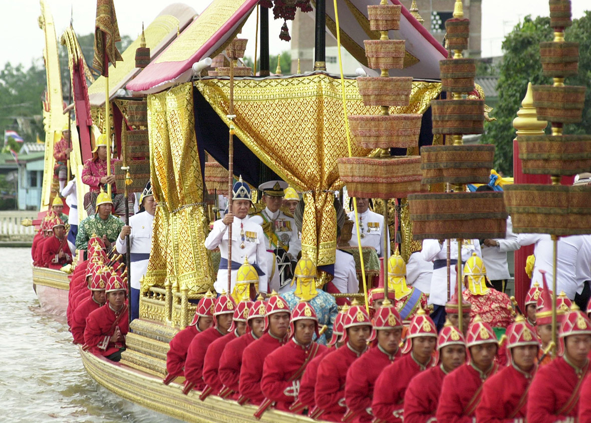 His Majesty Bhumibol Adulyadej as seen during the Royal Barge Procession in June 2006.