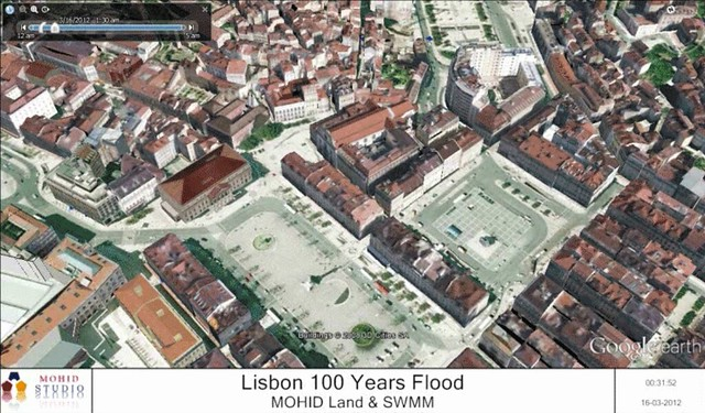 Visualization of flooding in Lisbon for a 100-year design storm