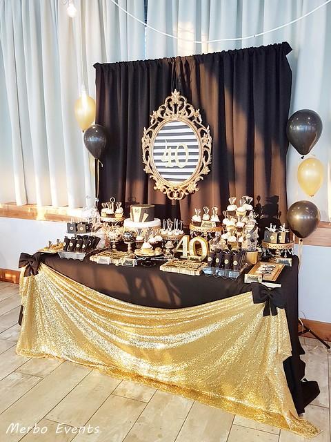 fiesta 40 cumpleaños dorado y negro MERBO EVENTS