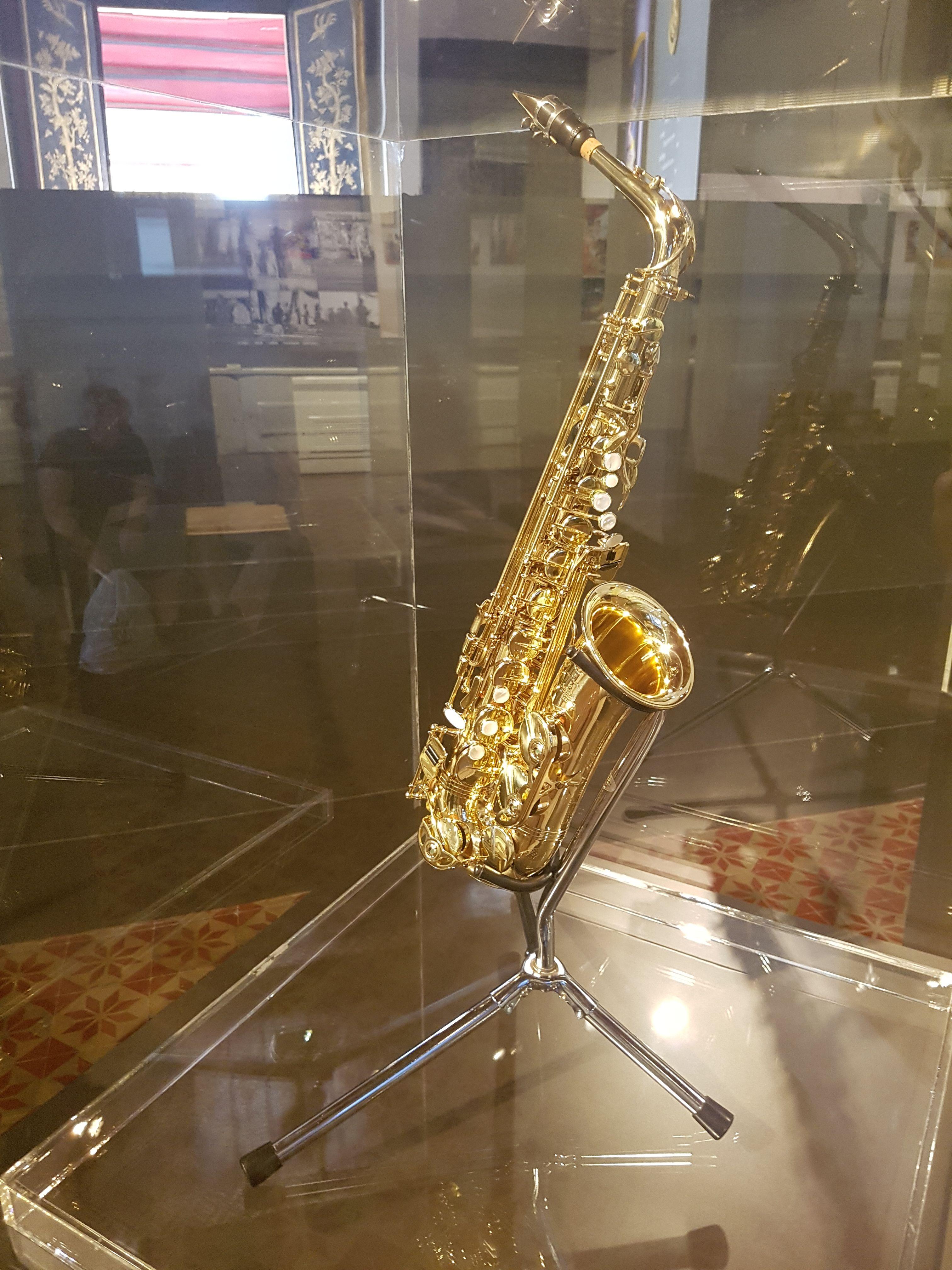 King Bhumibol's saxophone as seen at Itsara Winitchai Hall in the Bangkok National Museum, Bangkok. Photo taken on June 11, 2017