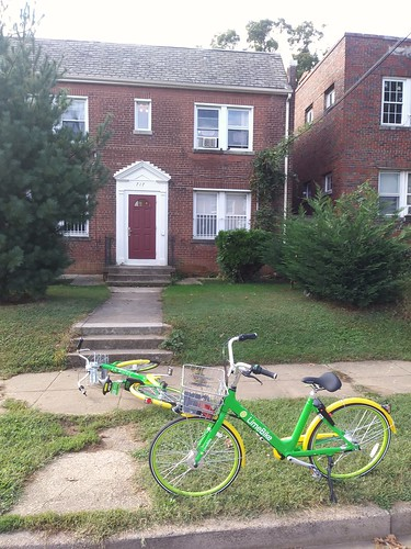 Lime Bike bicycle sharing bicycles parked/abandoned outside a small apartment building on the 700 block of Irving Street NE in the Brookland neighborhood