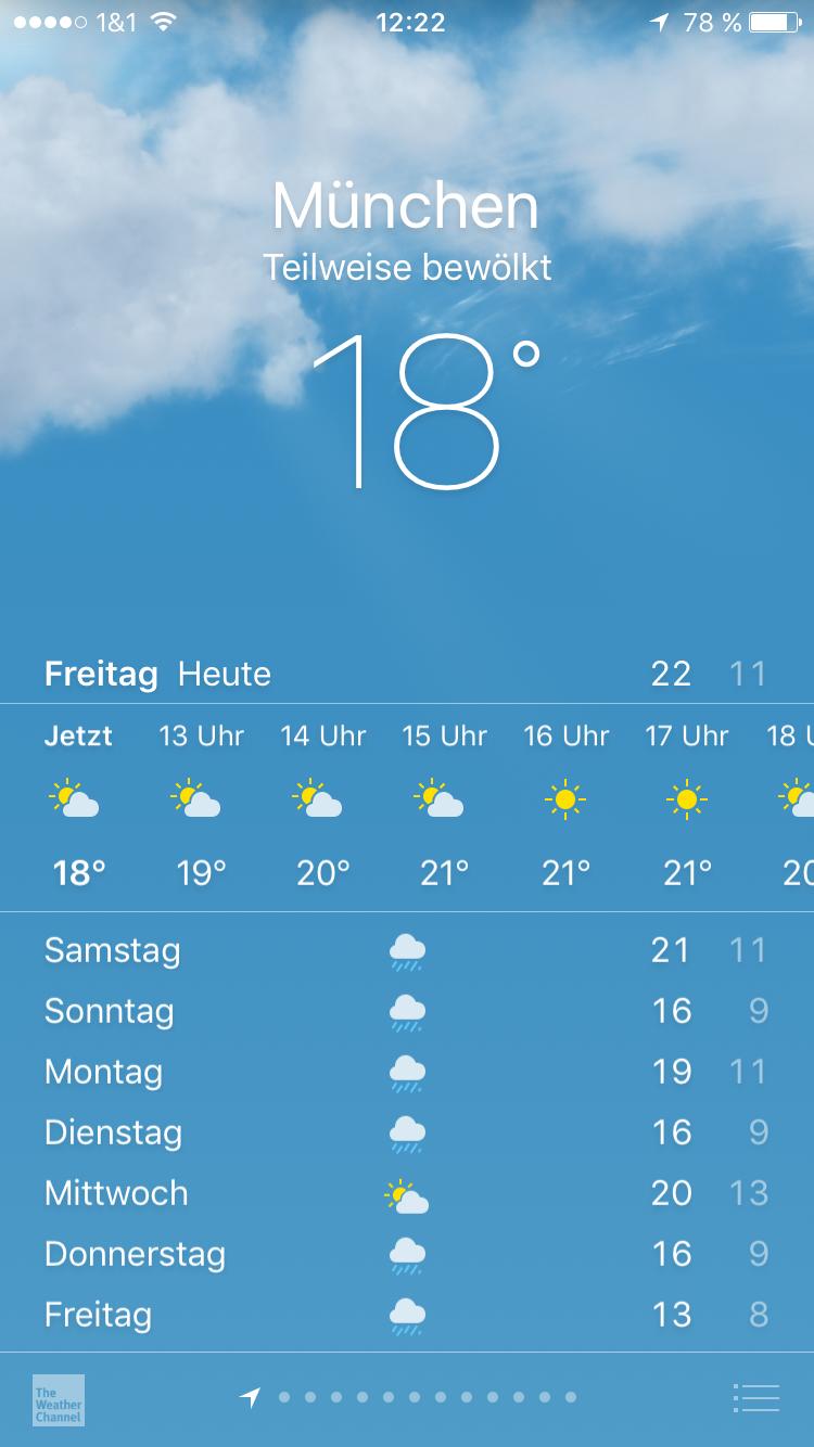 Wetter-App auf iPhone