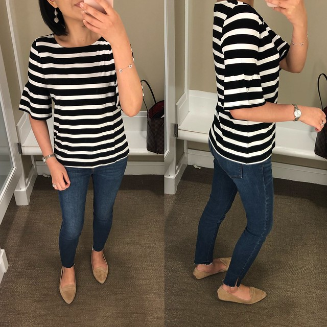 Talbots Flounce-Sleeve Tee - Jefferson Stripes, size SP
