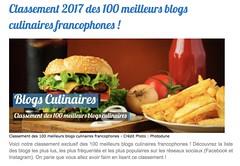 Classement des meilleurs blogs culinaires