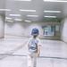 Rear view portrait of baby boy walking