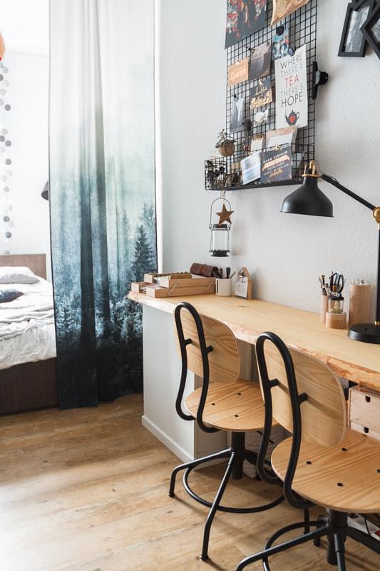 Home-Office-Holz-Schreibtisch-kullaberg-IKEA-Holzstuhl