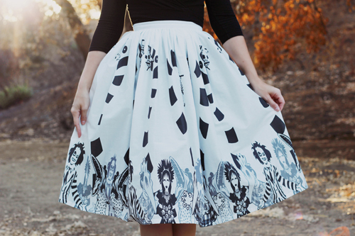 Vintage Inspired by Jackie Atomic Jax Beetle Border Full Skirt