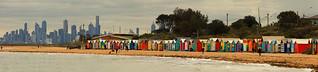 Melbourne City Skyline and Brighton Beach