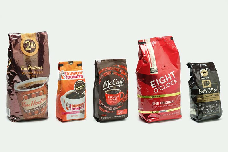 five bags of well known coffee brands