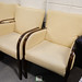 Cream leather high back club chair E80