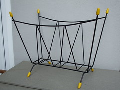 1950's Mid Century Atomic  Era Wirework Magazine Rack Black & Yellow